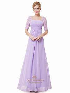 Lilac Chiffon Floor Length Bridesmaid Dress With Lace Half ...