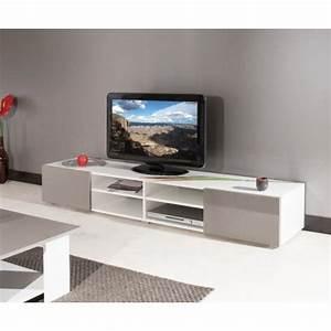 mango meuble tv contemporain blanc et taupe facades With meuble taupe et blanc