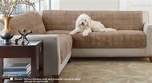 Deluxe armless furniture cover for sofa for Sectional couch protectors for dogs