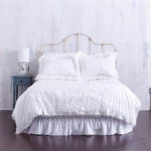 White Duvet Cover with Textured Floral & Bead Trim ...