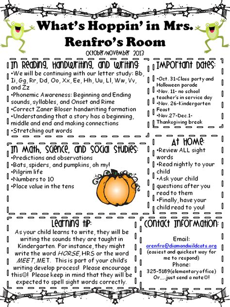 october newsletter ideas kindergarten times october november newsletter