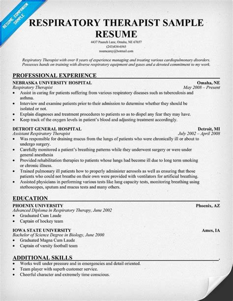 Respiratory Therapist Resume Sles pin by resume companion on resume sles across all