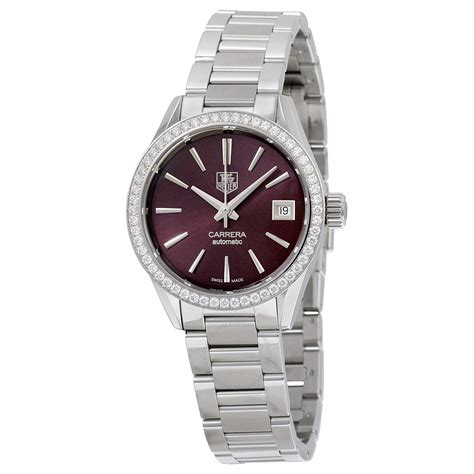 tag heuer watches tag heuer carrera maroon dial stainless steel ladies watch