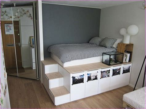 diy king size platform bed  storage shelving ikea