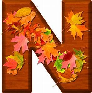 Presentation Alphabets: Cherry Wood Leaves Letter N