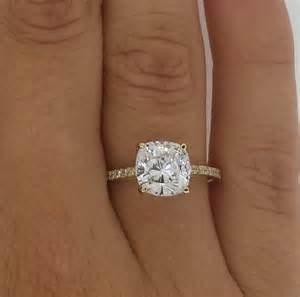 cushion cut solitaire engagement rings 2 5 ct enhanced vs2 f cushion cut engagement ring 14k yellow gold ebay