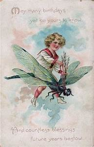 Free Vintage Clip Art Boy Riding Dragonfly The