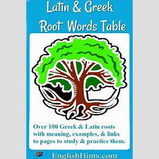 A Table Of Root Words From Latin And Greek