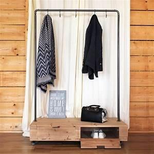 Portant Vetement Blanc : penderie sur roulette en bois et m tal made in meubles ~ Teatrodelosmanantiales.com Idées de Décoration