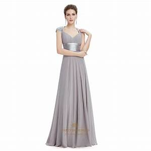 grey v neck long prom dresses with cap sleeves fancy With robe style empire