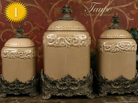 tuscan kitchen canister sets design quot taupe quot large kitchen canister set of 3 top