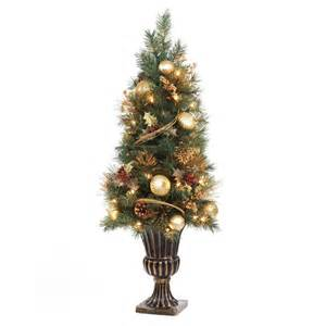 home accents holiday 4 ft gold artificial christmas porch tree with 50 ul clear twinkle lights