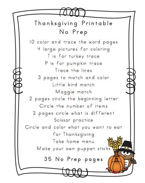 thanksgiving printable no prep preschool printables