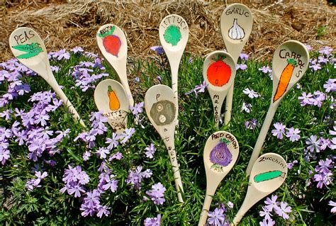 Garden Crafts :  Wooden Spoon Garden Stakes