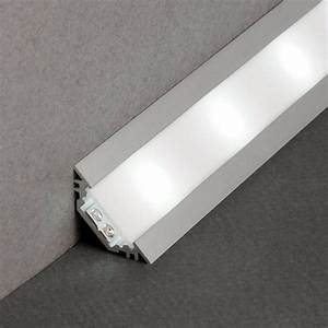 Kit profile led aluminium blanc noir 1m encastrable en for Carrelage adhesif salle de bain avec profile led angle