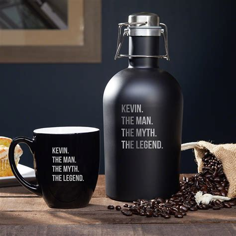 Our tallest style, this big coffee mug will fuel you through everything the day may throw at you. Man Myth Legend Custom Stainless Steel Coffee Carafe & Mug Set