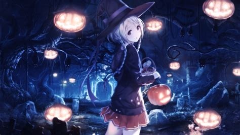 Anime Girl Witch Wallpaper Wallpaper Anime Girl Witch Hat White Hair Dark Forest