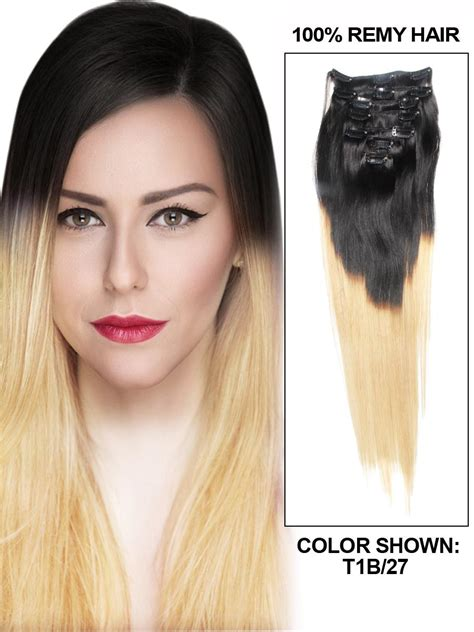 Hair Implants Washington Ks 66968 32 Inch Ombre Clip In Indian Remy Hair Extensions Two Tone