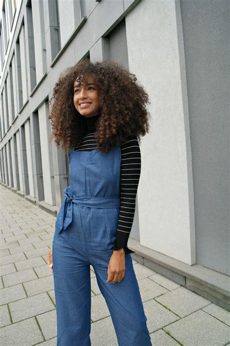 outfit denim jumpsuit  striped roll neck jumper