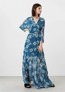 Robe Mango Longue Cache Coeur Bleu Fluide