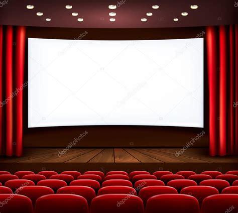 stage curtains for cinema com tela branca cortina e assentos vector vetor