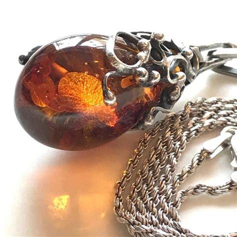 scandinavian amber pendant  sterling silver necklace  stdibs