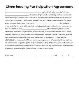 cheerleading participation agreement cheerleading