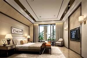 Interior design master bedroom with TV and balcony