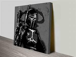 Black and white boba fett on canvas print australia