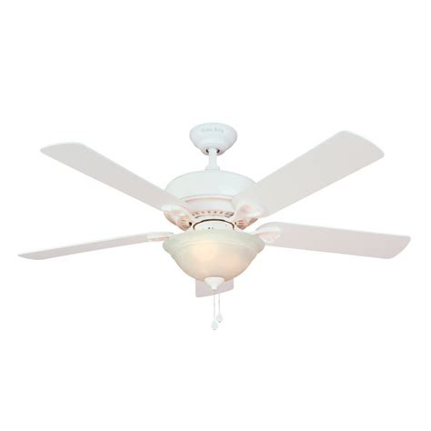 ceiling fan globes lowes shop harbor breeze 52 quot halston ii white ceiling fan at