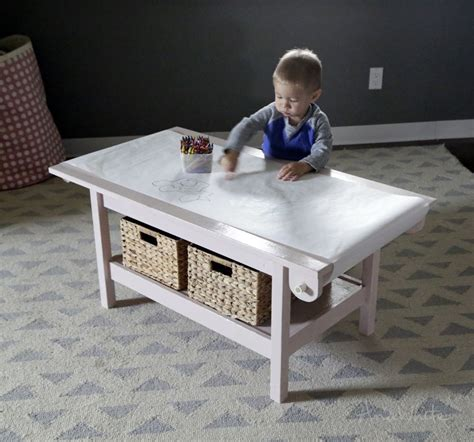 simple kids pine play table  paper roll holder