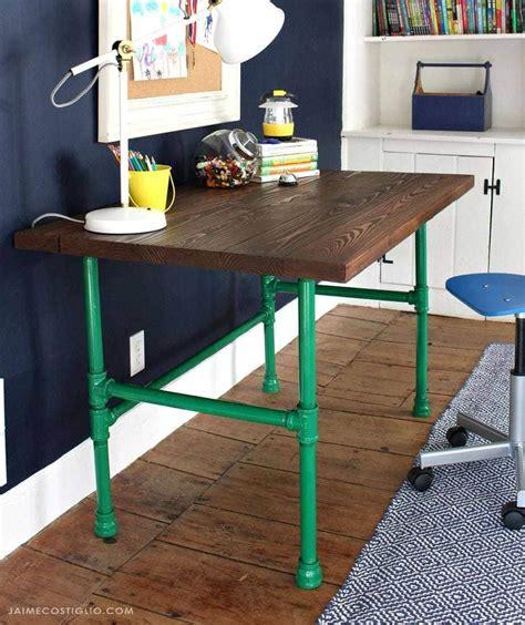 diy painted pipe base wood desk jaime costiglio