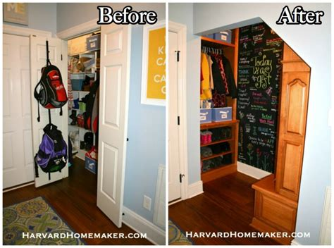 turn a closet into an awesome mudroom space with a