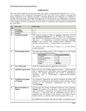 printable binding term sheet sample forms  templates
