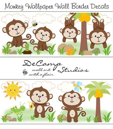 monkey wallpaper border decal boy safari animals nursery