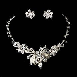 Vintage inspired silver crystal flower design bridal for Wedding ring necklace