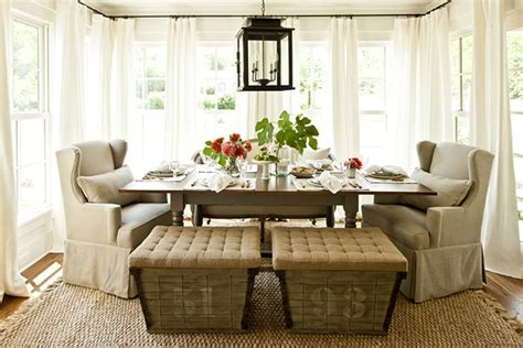 french burlap ottomans cottage dining room southern