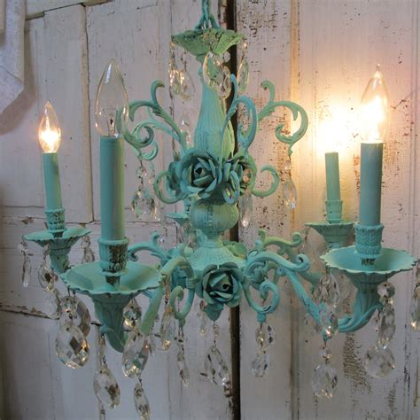 Aqua Chandelier by Ornate Aqua Chandelier With Crystals Embellished With Cabbage
