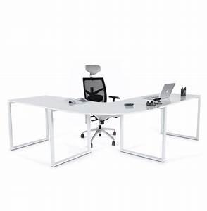 Bureau D Angle Professionnel : bureau d 39 angle alaska en bois blanc laqu design bureau design ~ Teatrodelosmanantiales.com Idées de Décoration