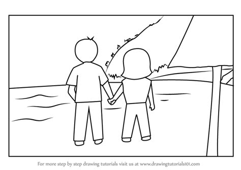 learn   draw couple holding hands  beach valentine
