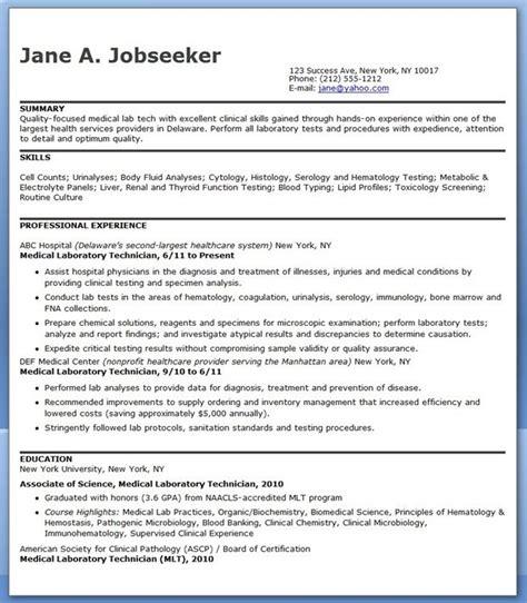Medical Laboratory Technician Resume Sample Creative