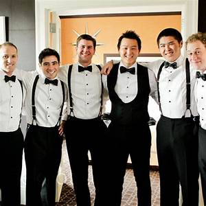 The groomsmen wore suspenders and bow ties with their black tuxedos. | J+B are getting married ...