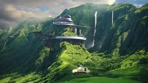 Landscape, Futuristic, House, Mountains, Waterfall