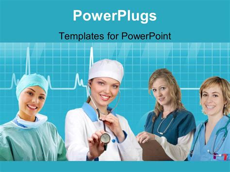 nursing powerpoint templates powerpoint template team of nurses with stethoscope across neck and evaluation notes 22355