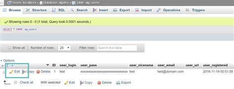 quickly reset wordpress admin password
