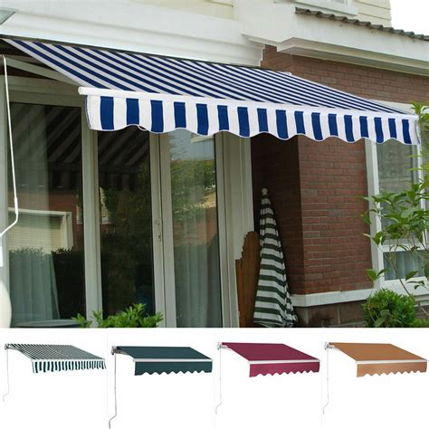 manual patio canopy retractable deck awning sunshade shelter  color ebay