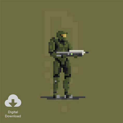8 Bit Master Chief Halo Pixel Art Retro Prints Etsy