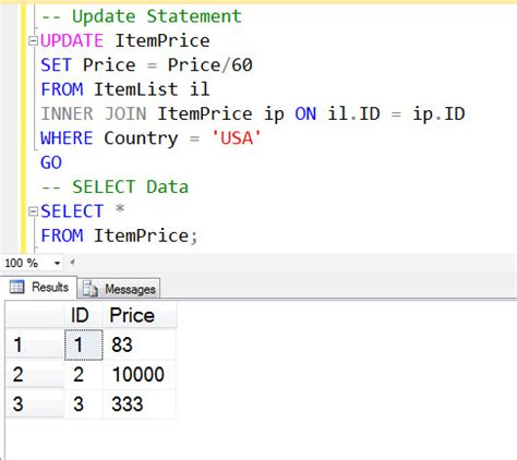 sql server update table from another table image gallery sql update