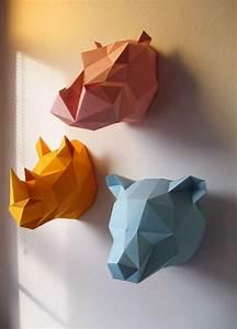 Trophée Animaux Origami : troph e origami papier okxo assembli muraux rouen girafe jaune ~ Teatrodelosmanantiales.com Idées de Décoration