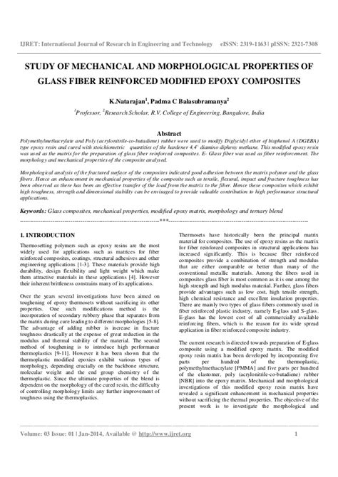 Study of mechanical and morphological properties of glass fiber reinf…